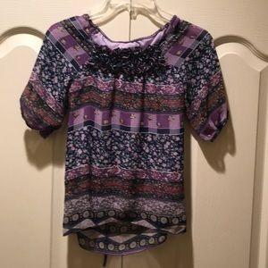 Girl's Justice Tieback blouse, purple-size 8
